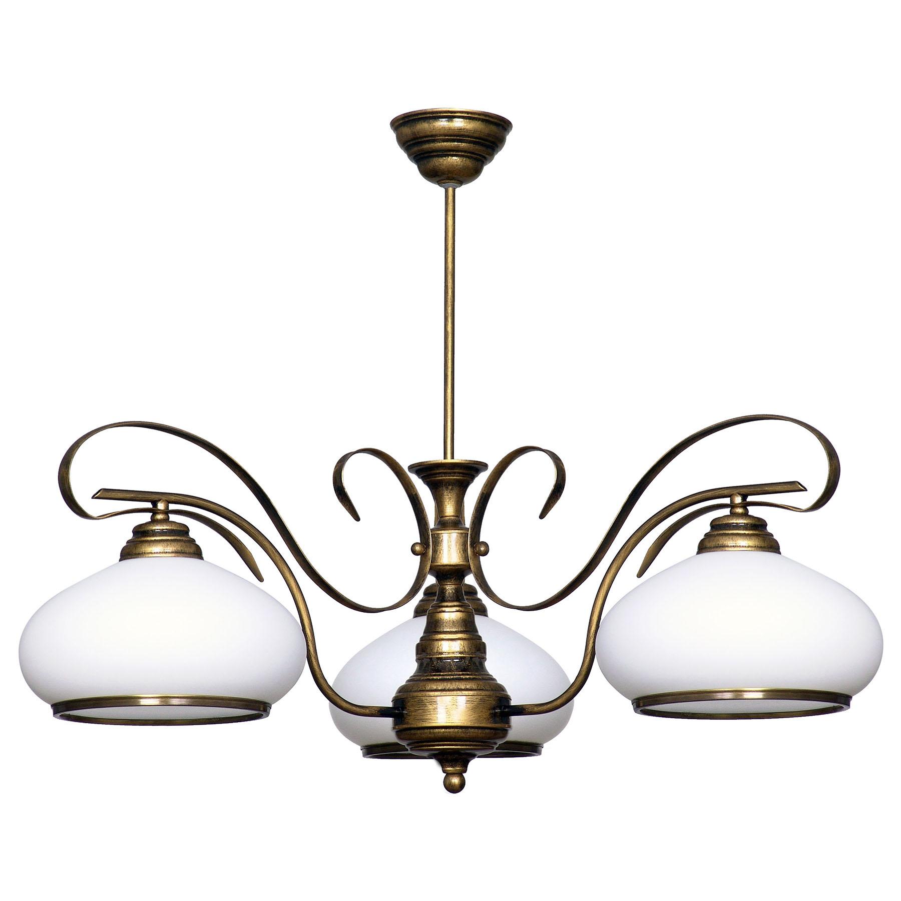Suspension 493, verre opale/doré ancien, 3 lampes
