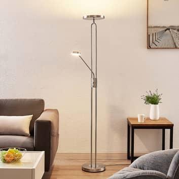 Lindby Twina LED vloerlamp, chroom gesatineerd