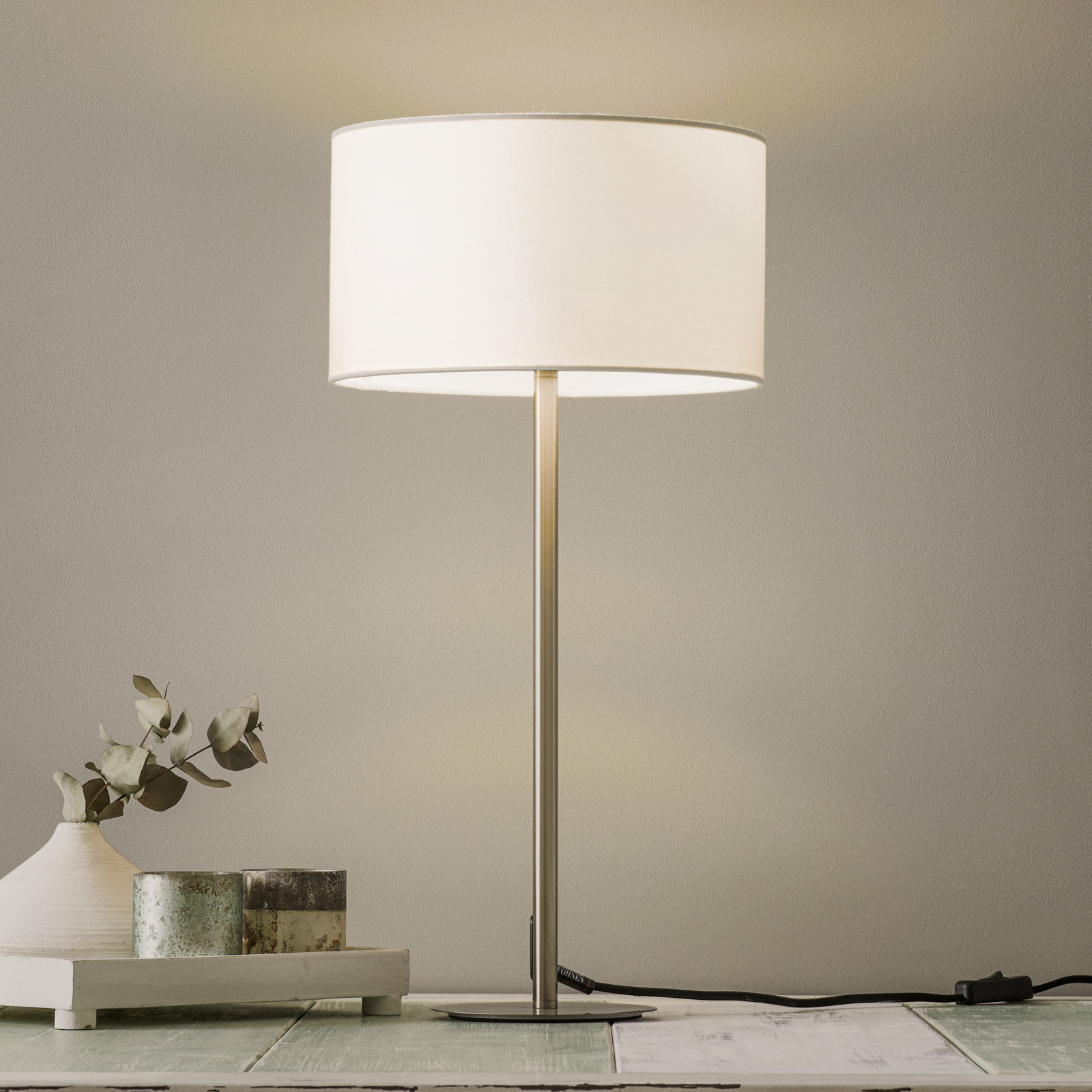Schöner Wohnen Pina lámpara de mesa blanco