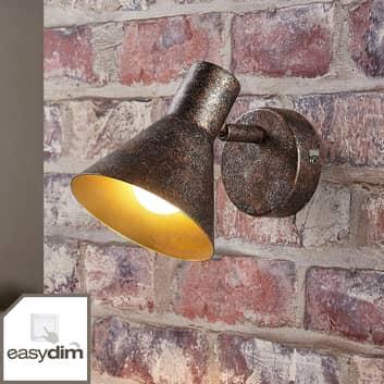 Applique murale LED rouille Zera, intérieur doré
