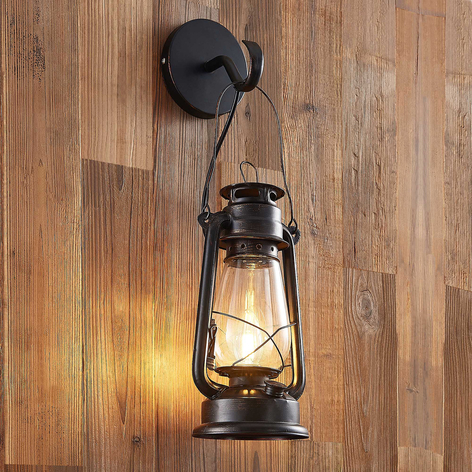 Lindby Raisa lampa ścienna, latarnia, kolory rdzy