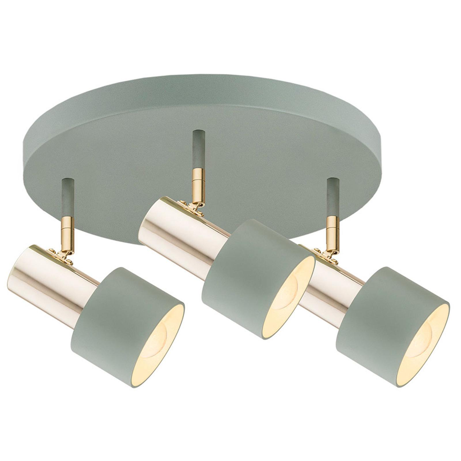 Destin loftspot, 3 lyskilder, grøn/messing