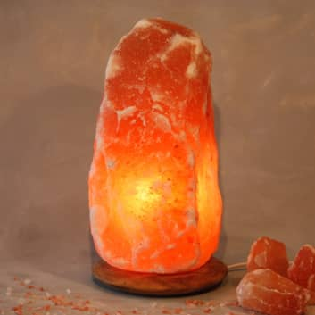 Verlichte zoutkristal Rock met houten voet