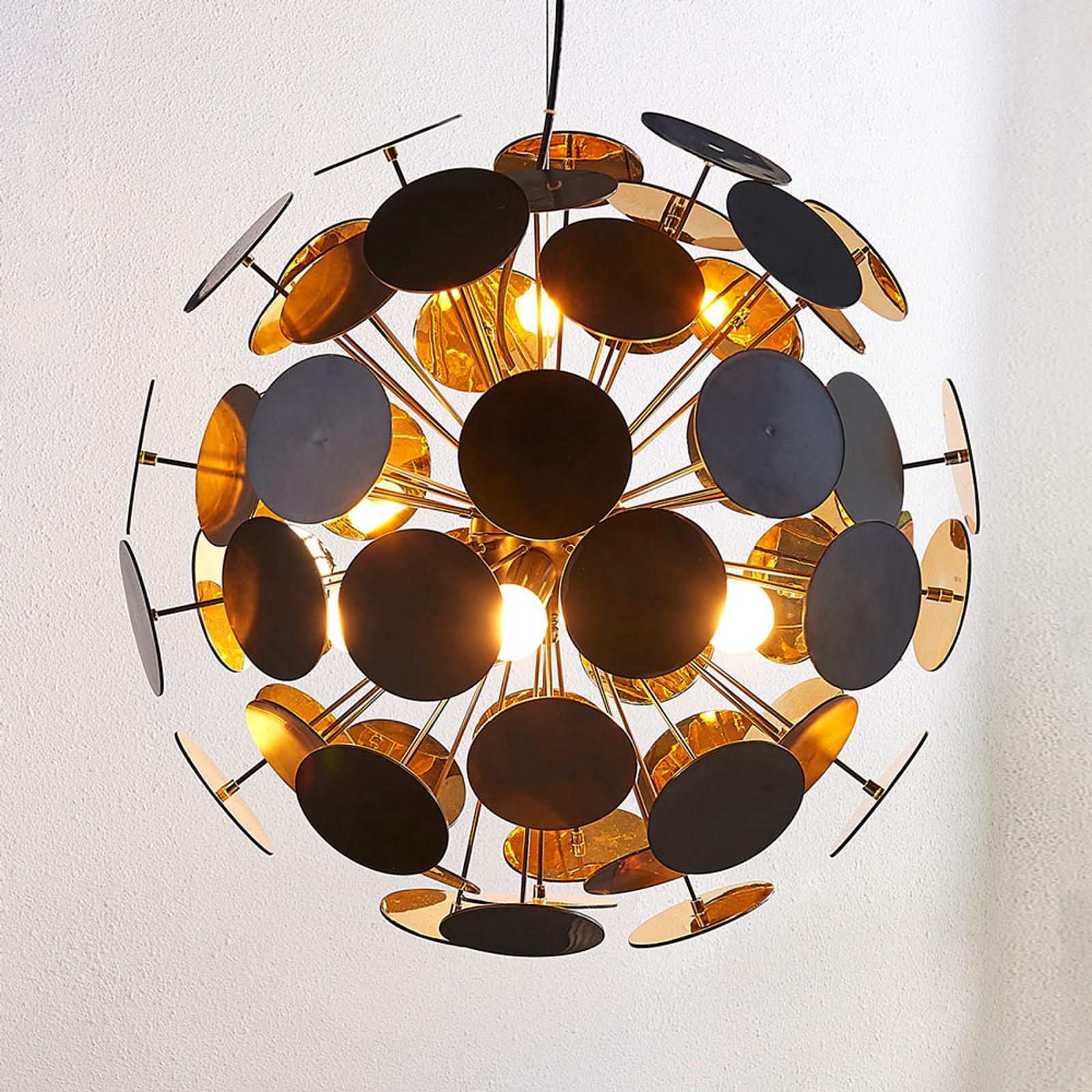Hanglamp Kinan met schijfjes in zwart en goud