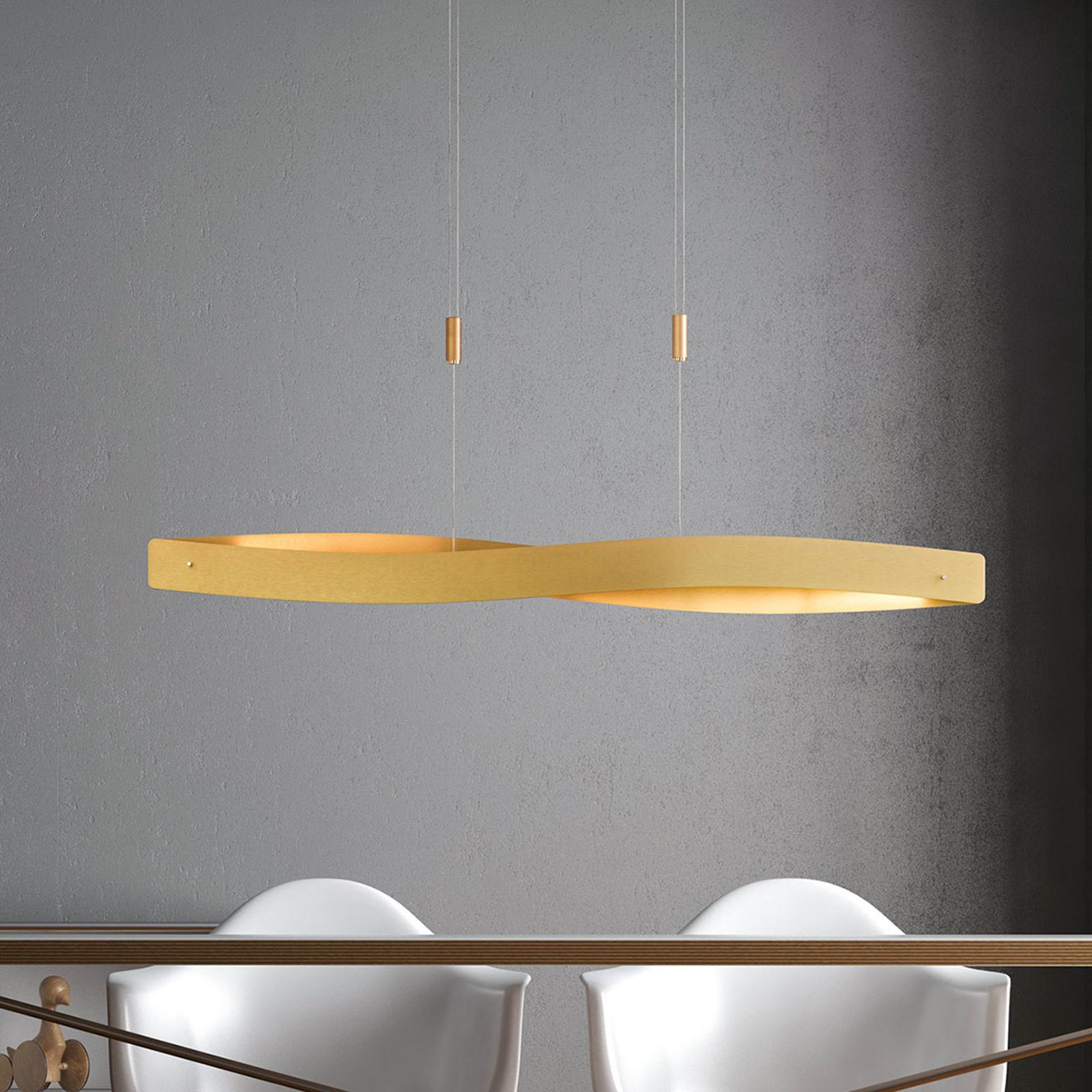 Lucande Lian LED, závěsné světlo, mosaz