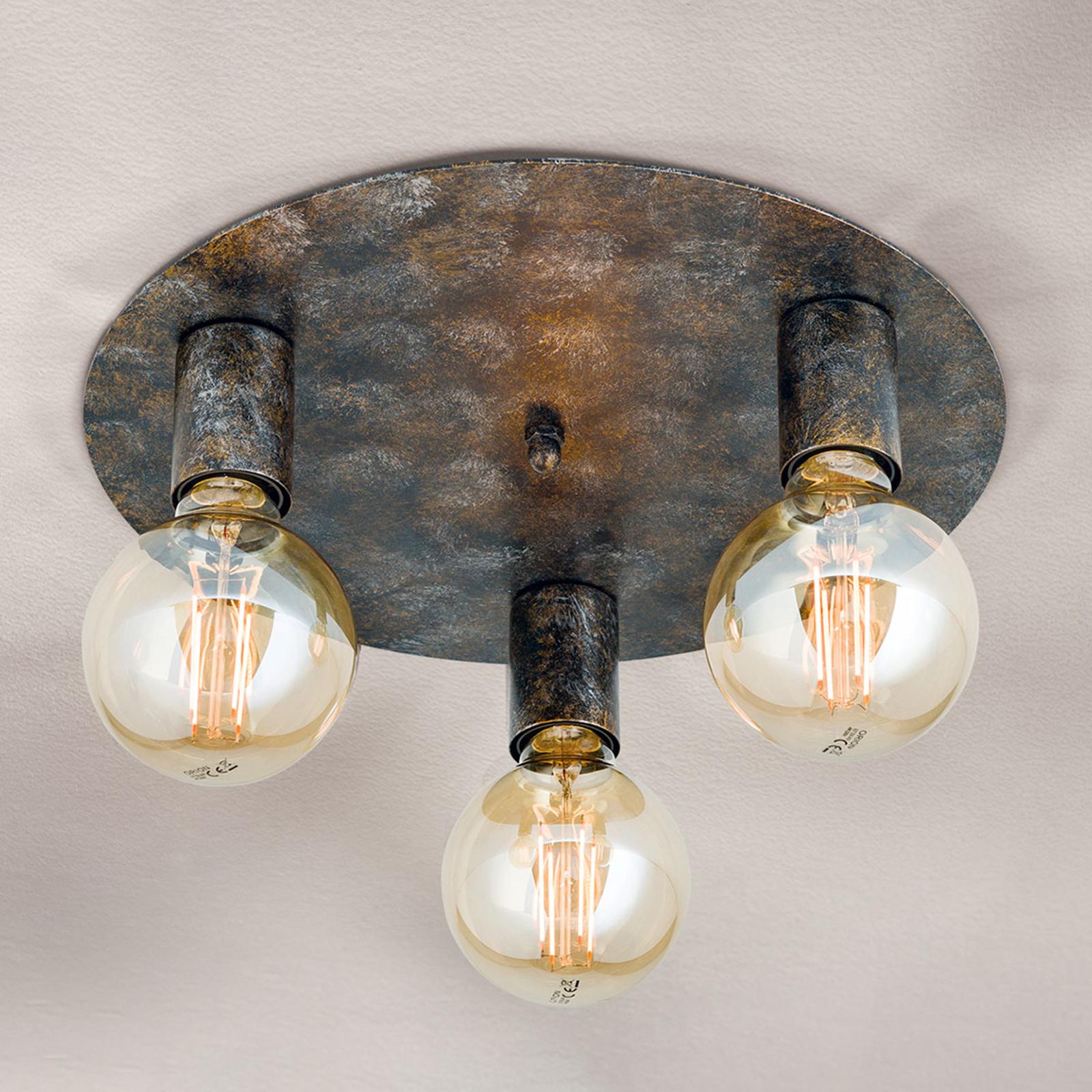 3-punktowa lampa sufitowa Rati w stylu vintage