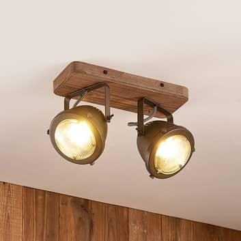 Lindby Farovi spot pour plafond noir, à 2 lampes