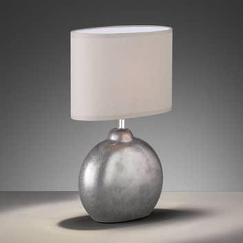 Lampe table Lino nat. pied céramique hauteur 39cm