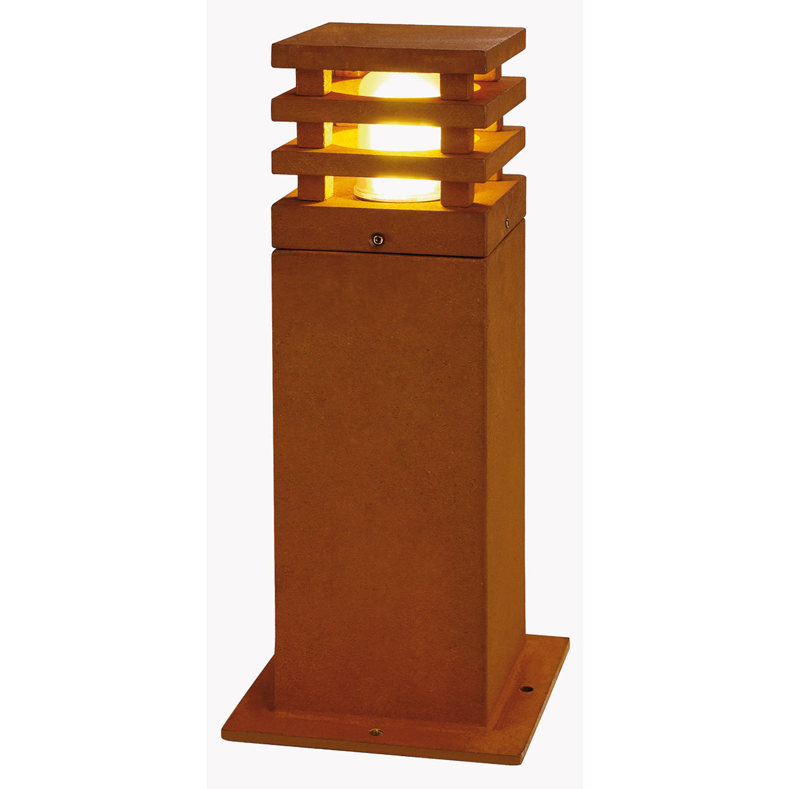 Rusty Square LED pillar light, 40 cm high_5504662_1