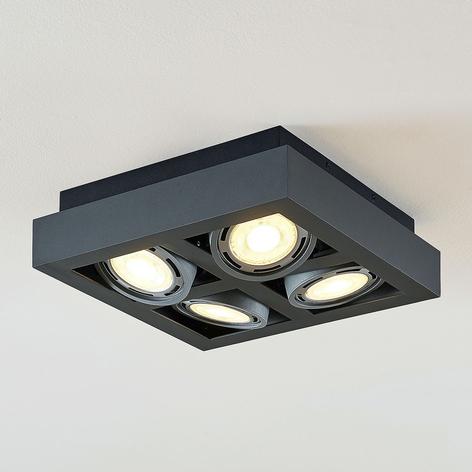 LED stropní osvětlení Ronka 4zdrojové čtverec šedé