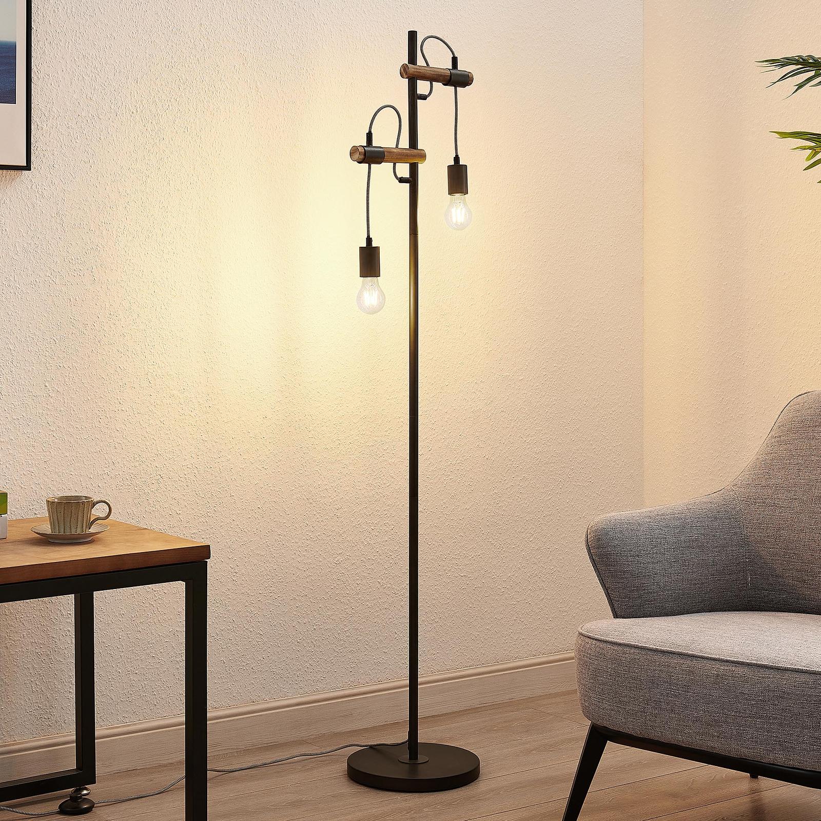 Lindby Sibillia gulvlampe af metal og træ