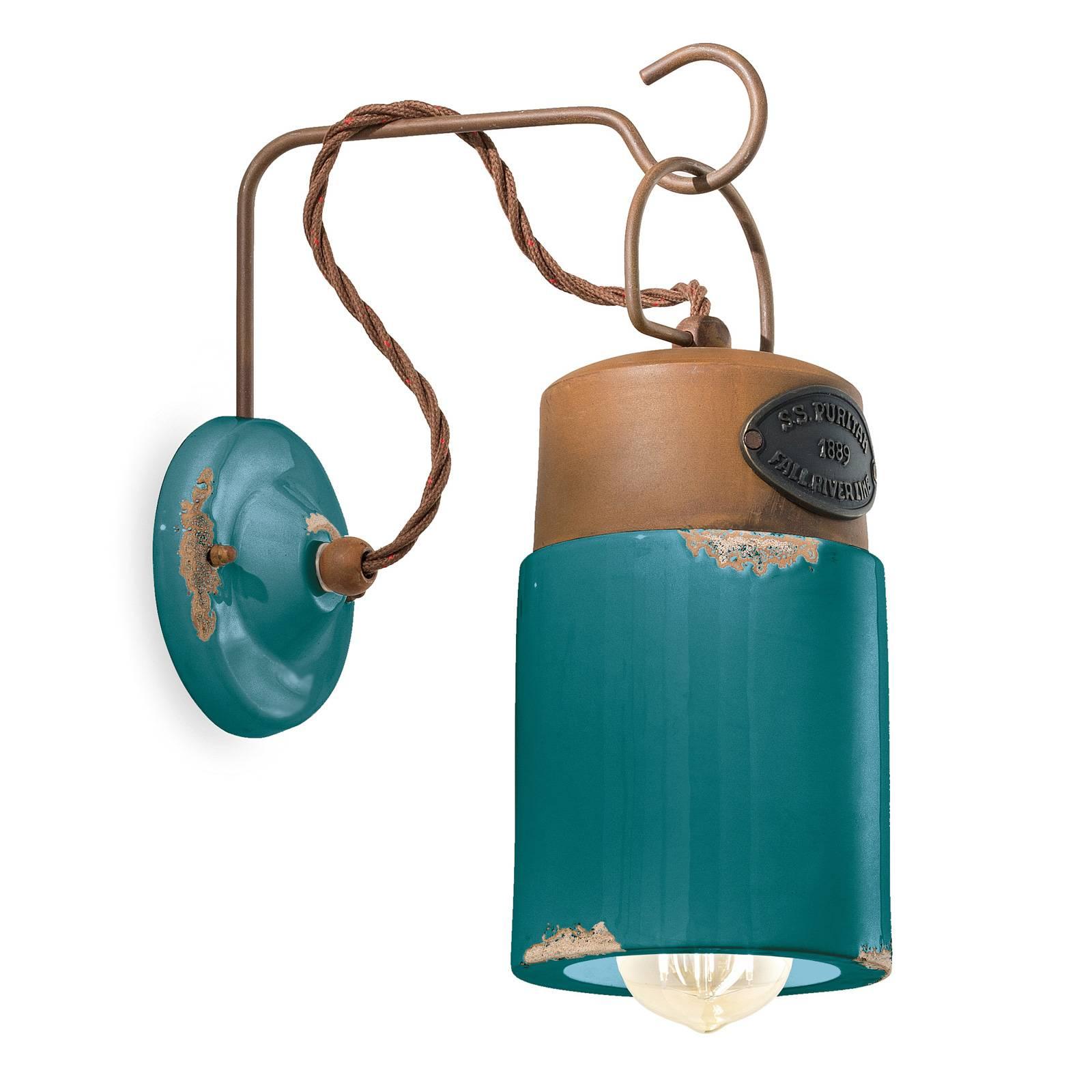 Wandlamp C1621, keramiek en metaal, groen
