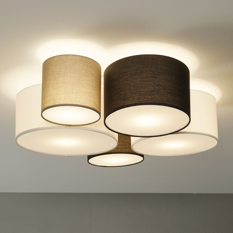 Plafondlamp Hotel met vijf textiel lampenkappen