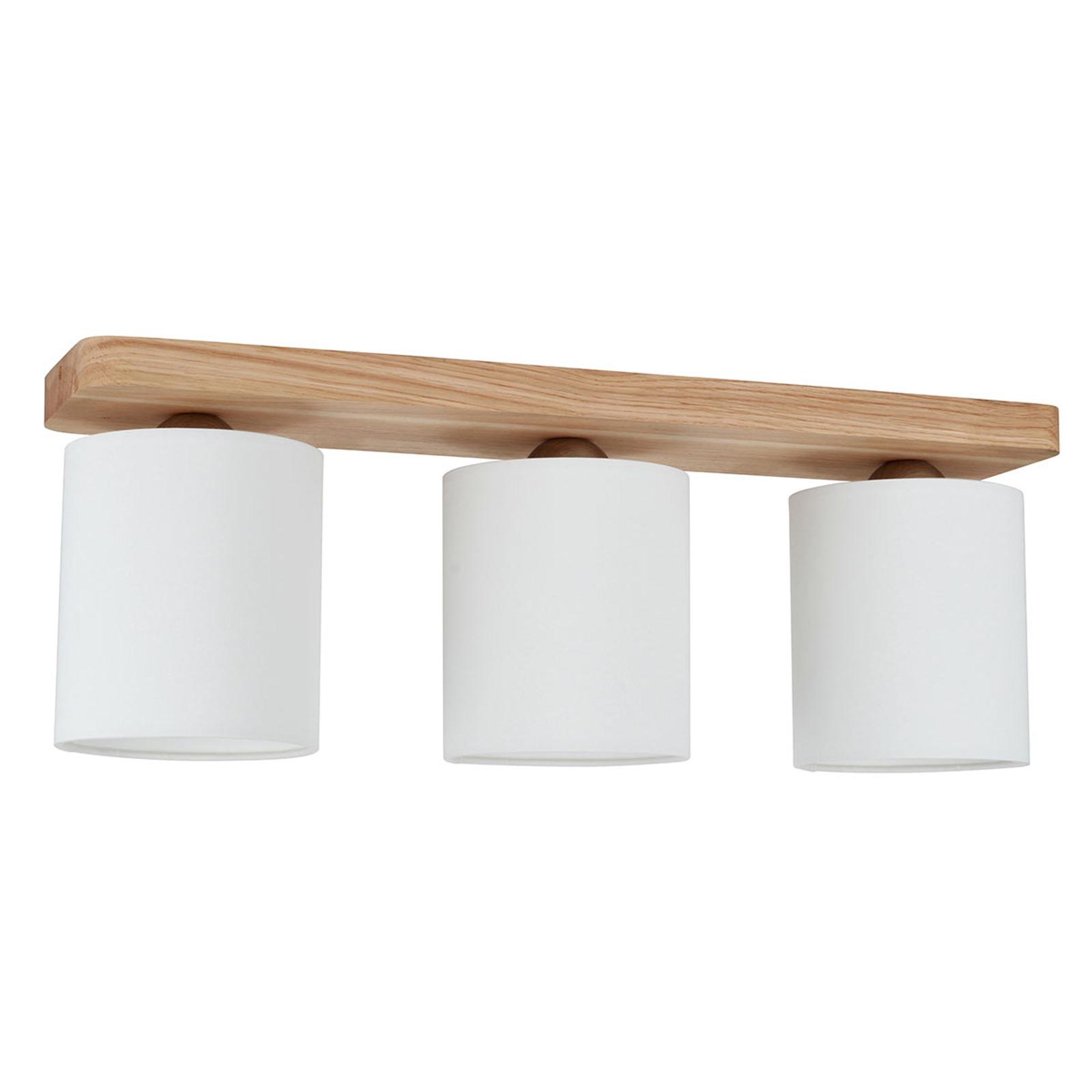 3-punktowa lampa sufitowa Jenta, rozeta z drewna