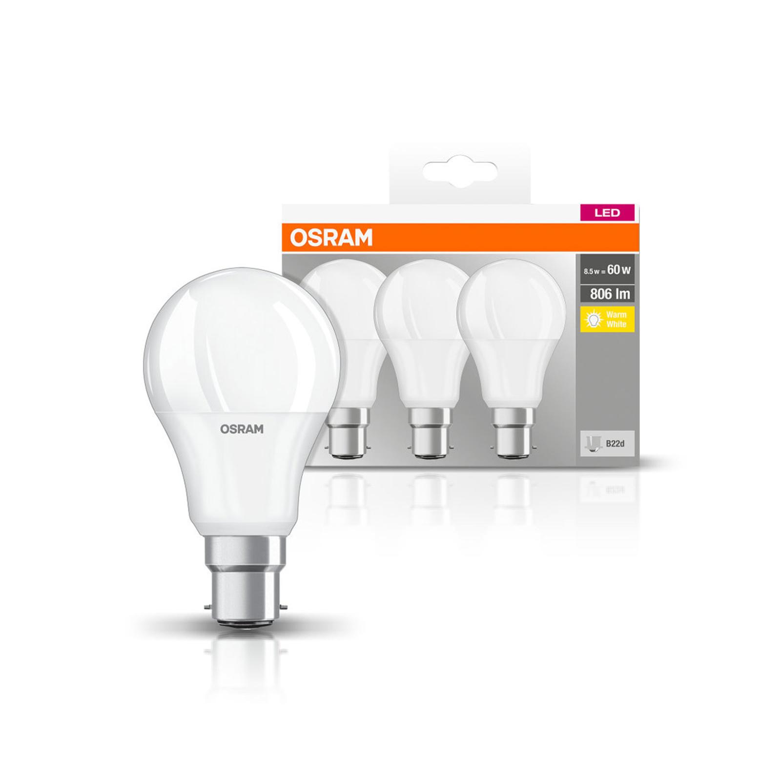 OSRAM LED-Lampe Classic B22d 8,5W 2.700K 806lm 3er