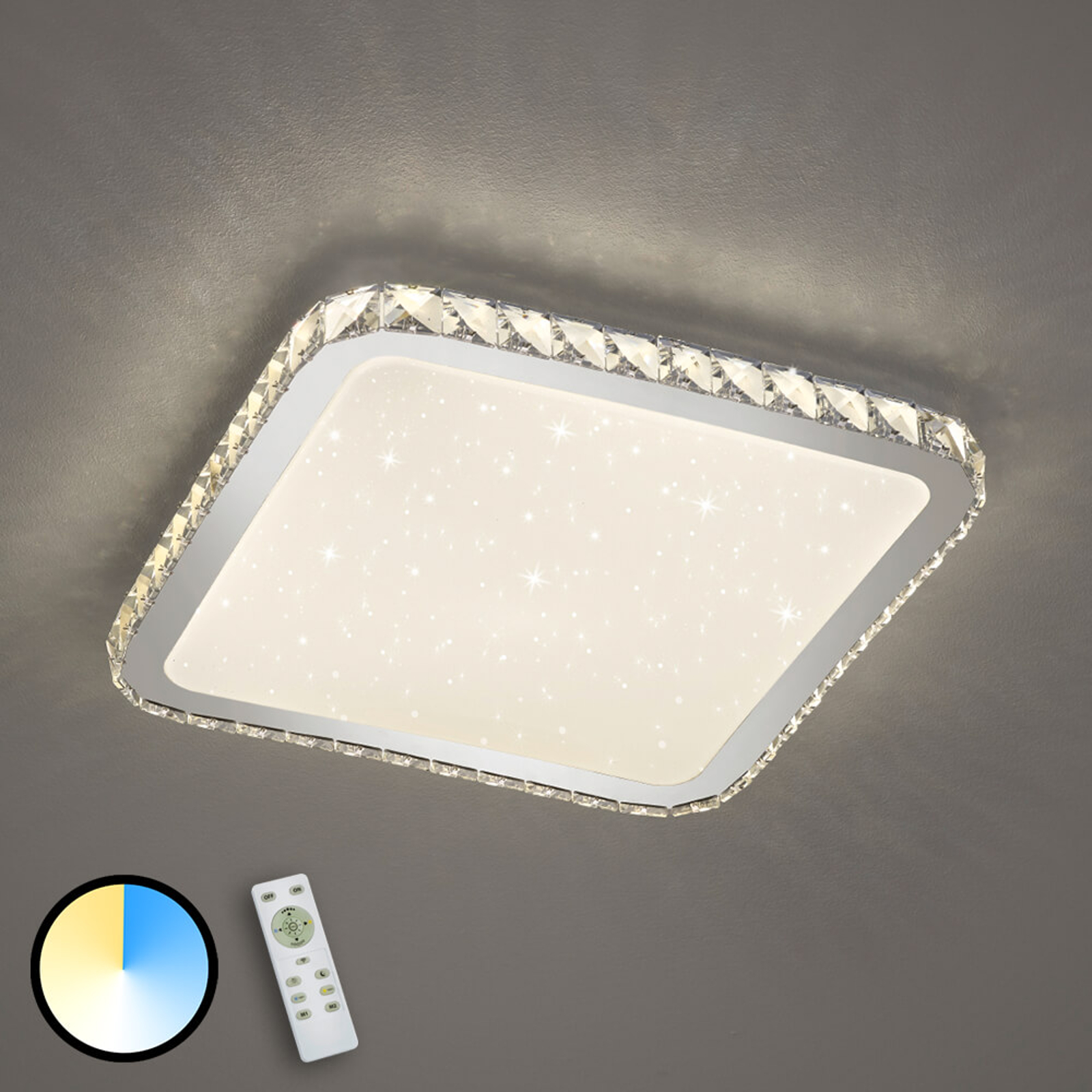 Lampa sufitowa LED Sapporo z powłoką starlight