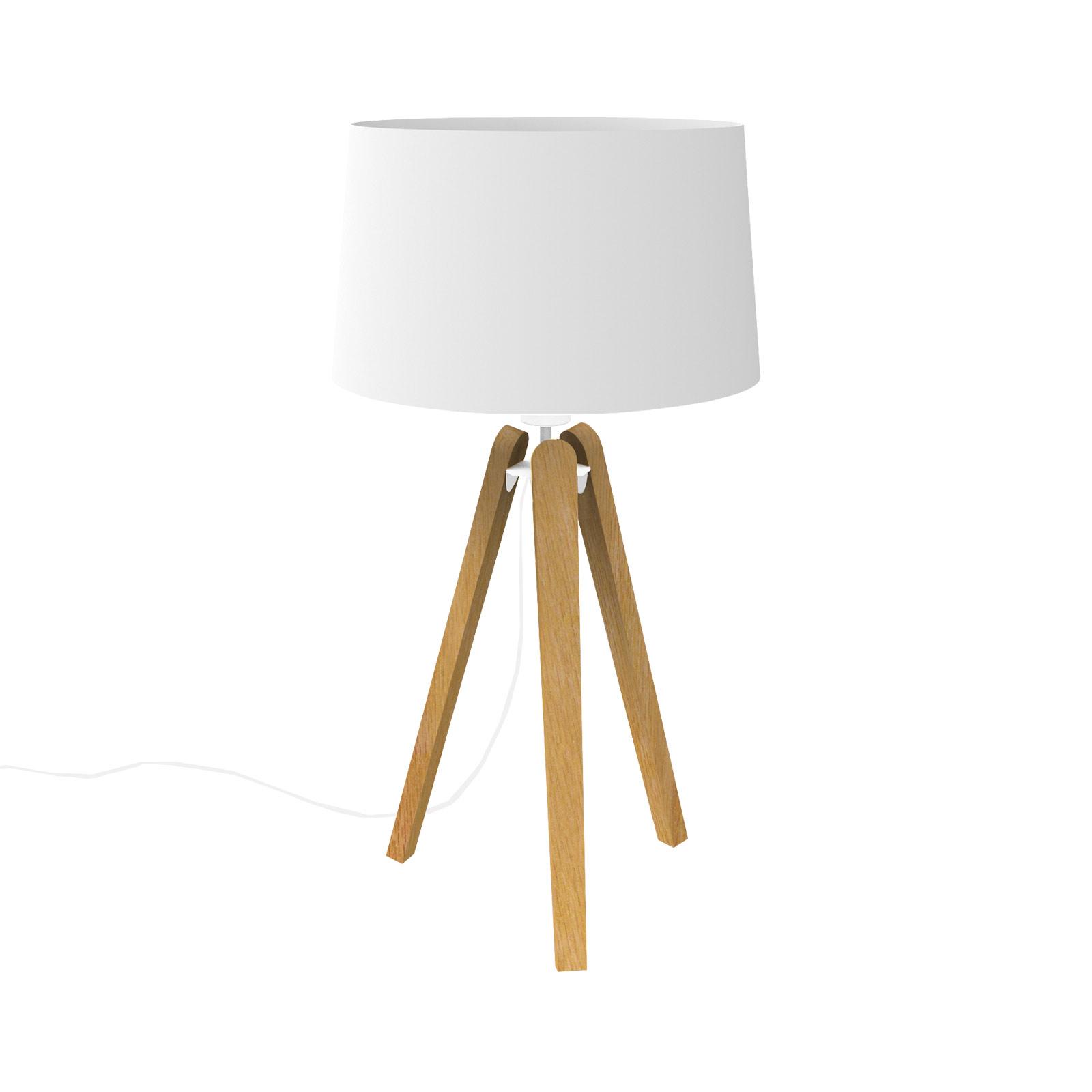 Essence LT bordlampe i træ og tekstil, hvid