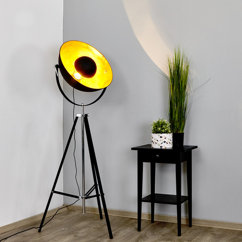 Stehlampe Mineva in Schwarz und Gold