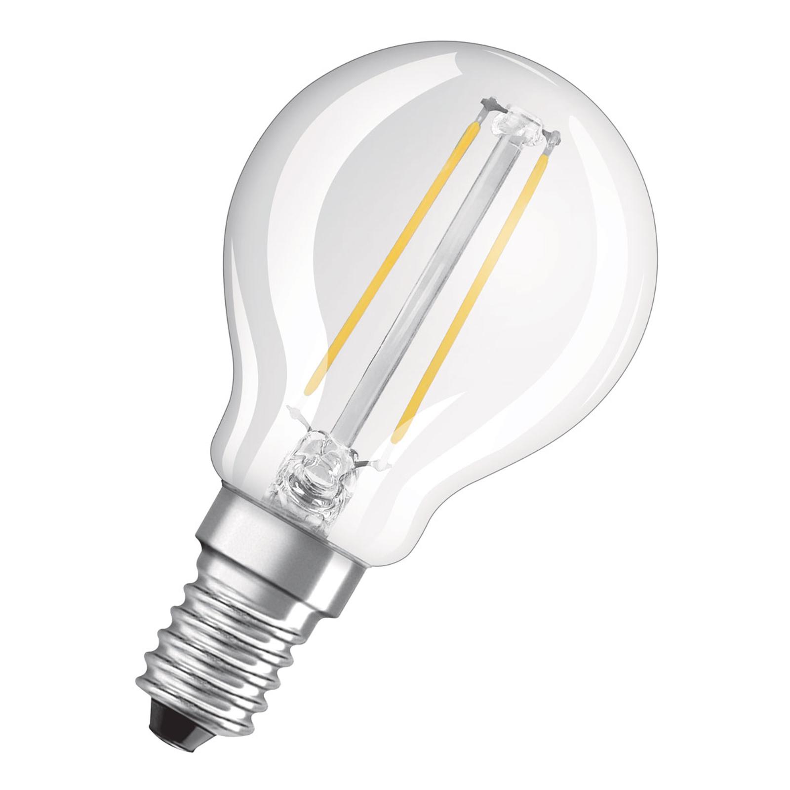 OSRAM LED-dråpepære E14 2,8 W varmhvit klar dimbar