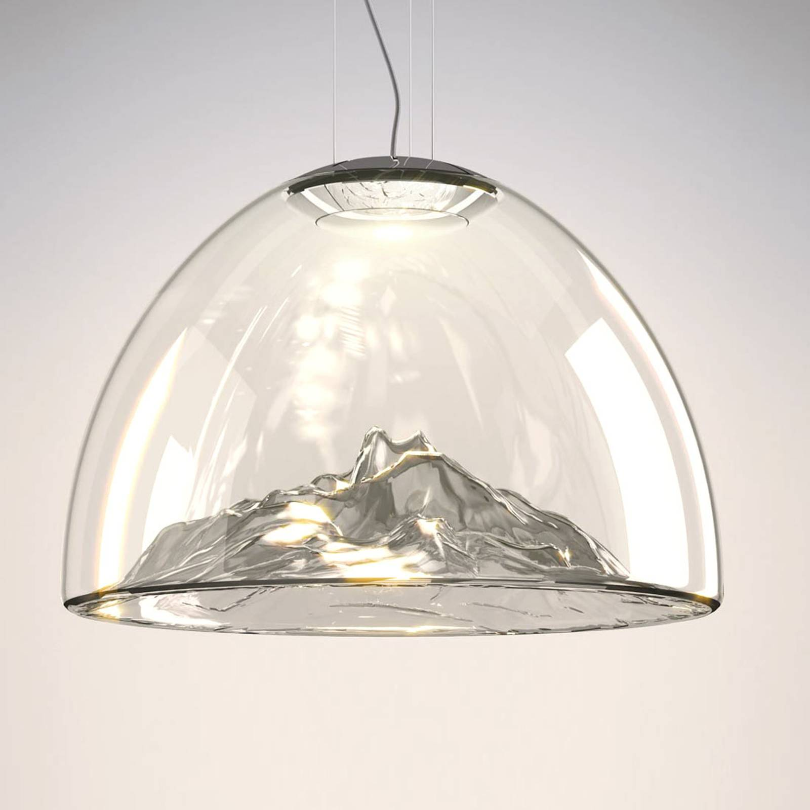 Axolight Mountain View - LED hanglamp grijs-chroom