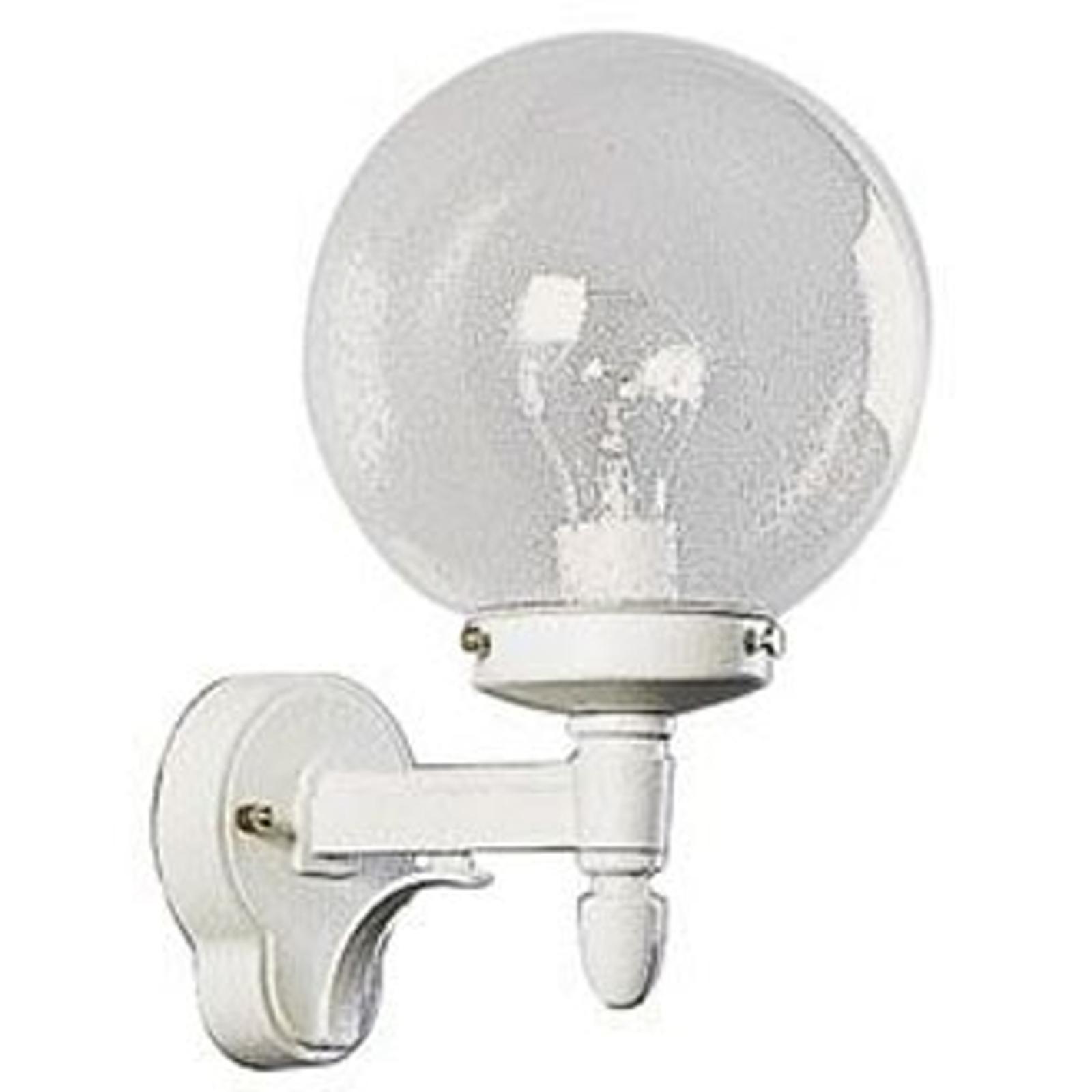 Buitenwandlamp 20 wit met bubbelglas