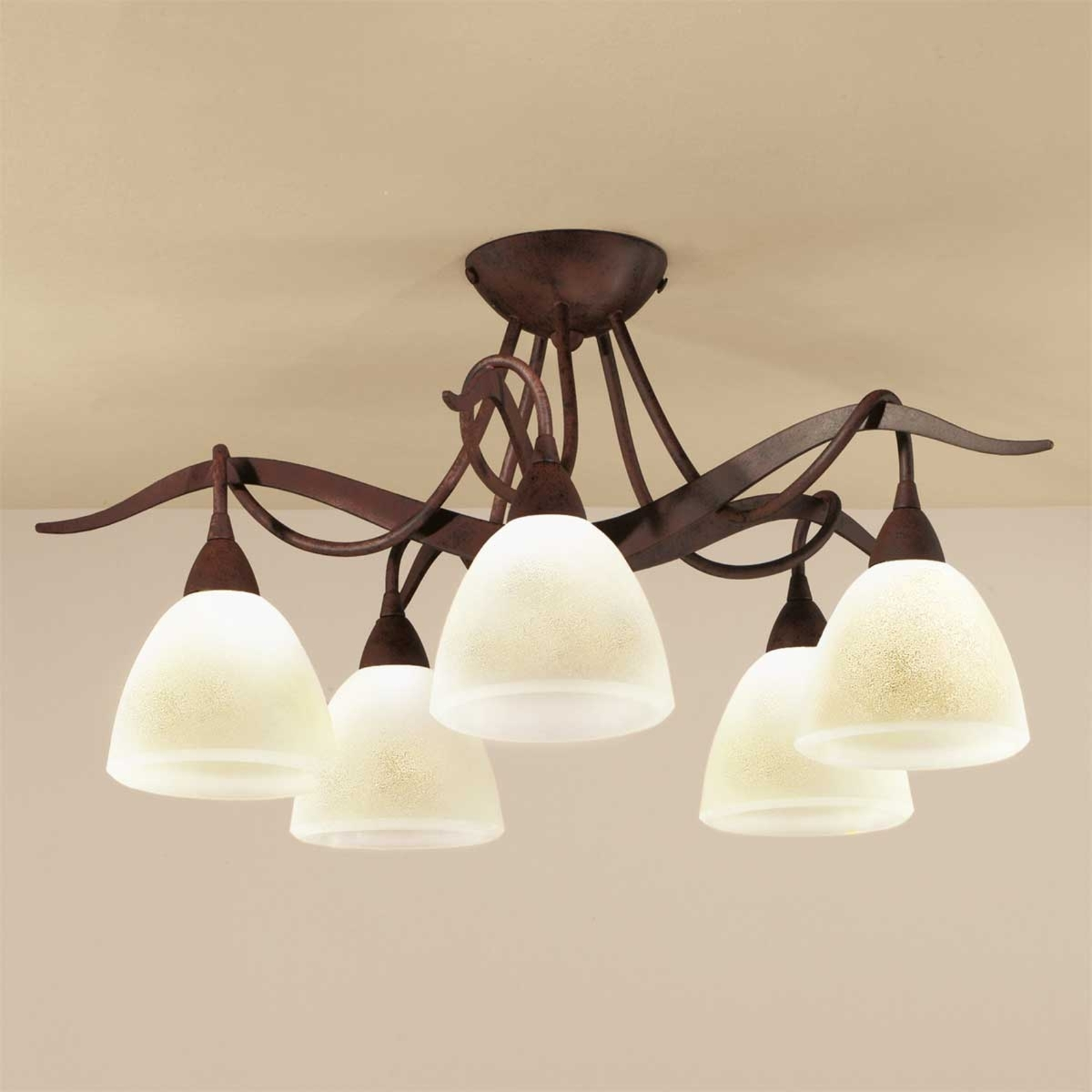 Landhuis-plafondlamp Samuele 5-lamps, scavo