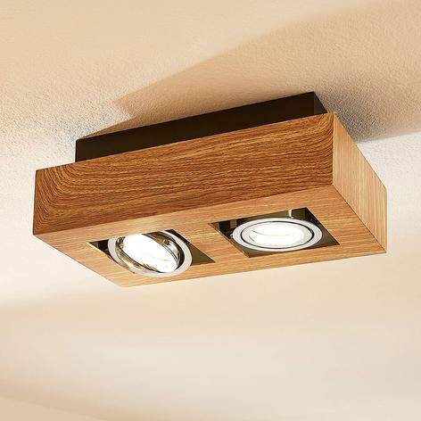 LED-Deckenleuchte Vince, 25x14cm in Holzoptik