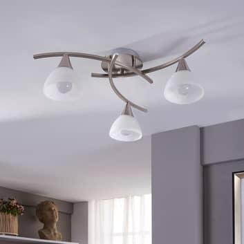 Della - LED plafondlamp nikkel mat, 3 lichtbr.