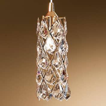 Forgylt CHARLENE pendellampe med krystaller