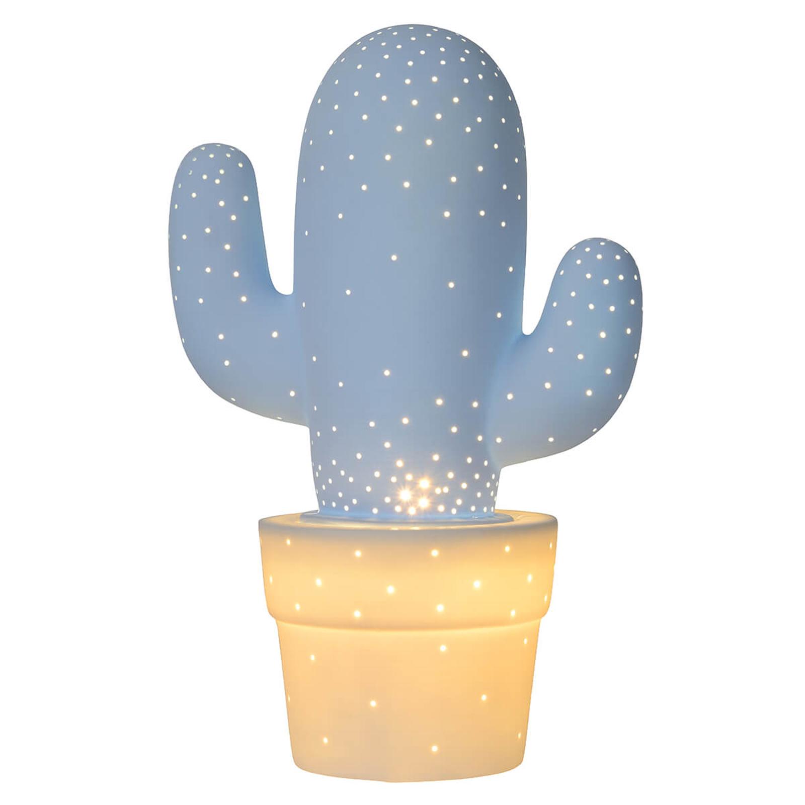 Decoratieve tafellamp Cactus van keramiek, blauw