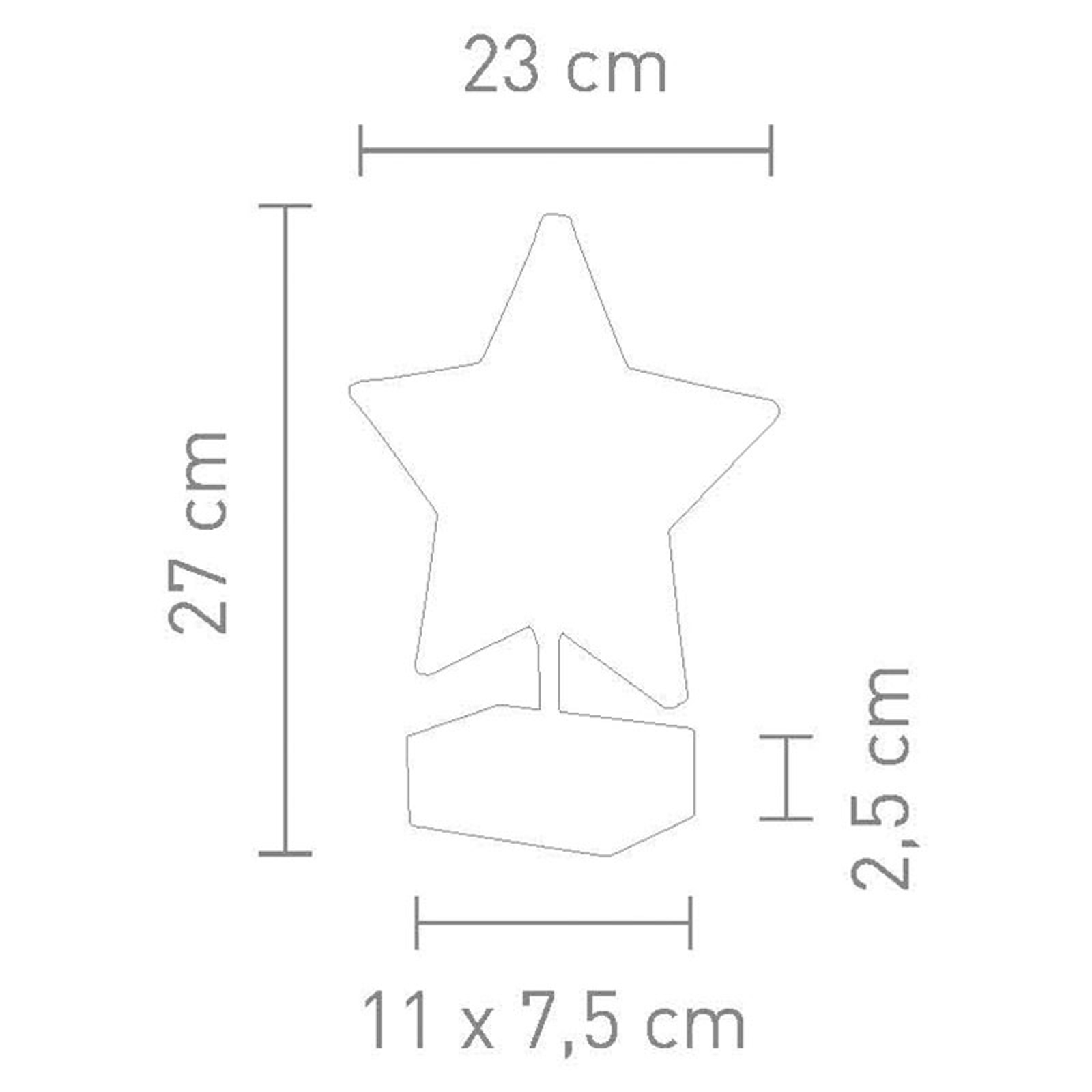 Tafellamp Stella in stervorm hoogte 27 cm, smoke