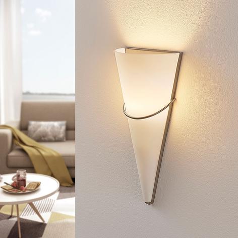 Aplique LEDMelek vidrio opalino, níquel satinado