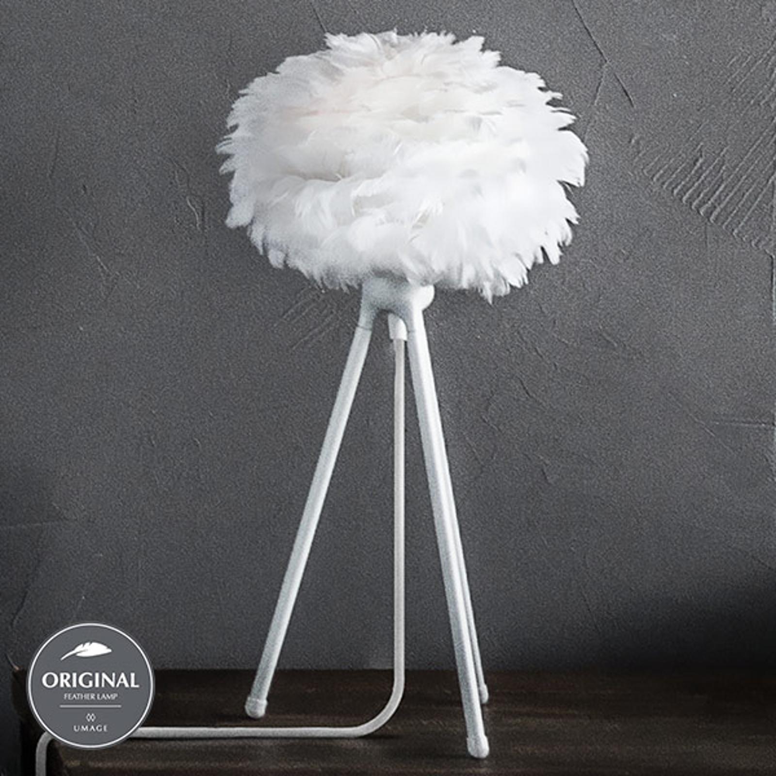 Med fjäderskärm – trebent bordslampa Eos micro