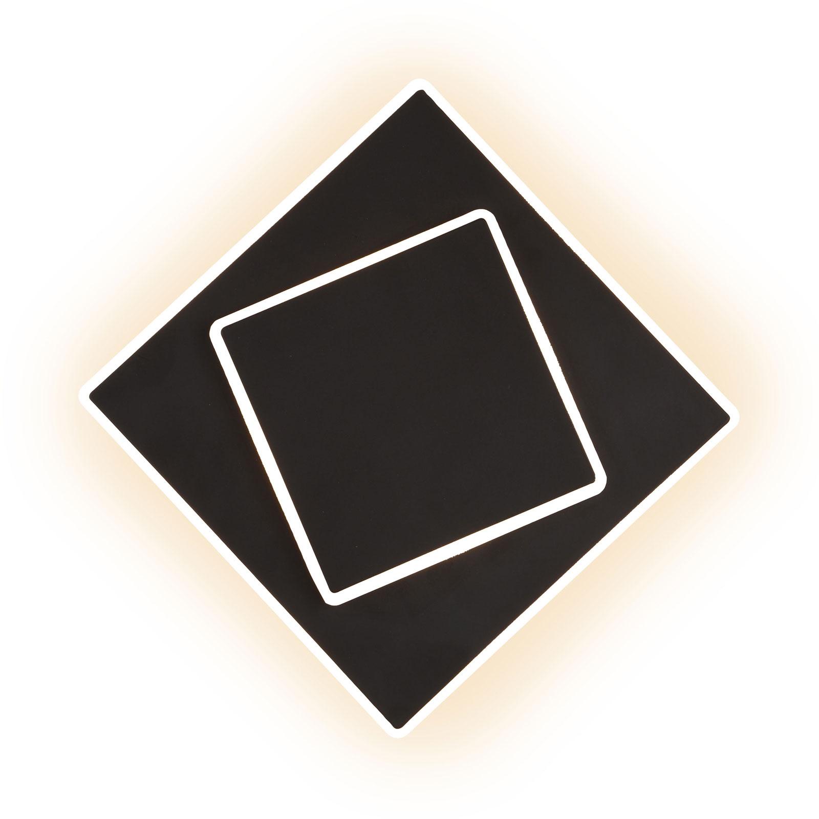 LED wandlamp Dakla, zwart, 18x18 cm