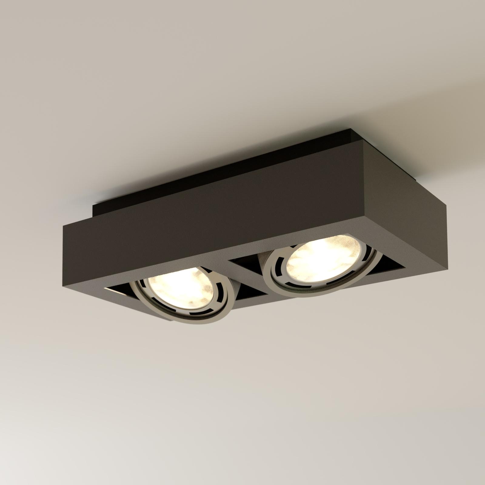 LED-takspot Ronka, GU10, 2 lyskilder, mørkegrå