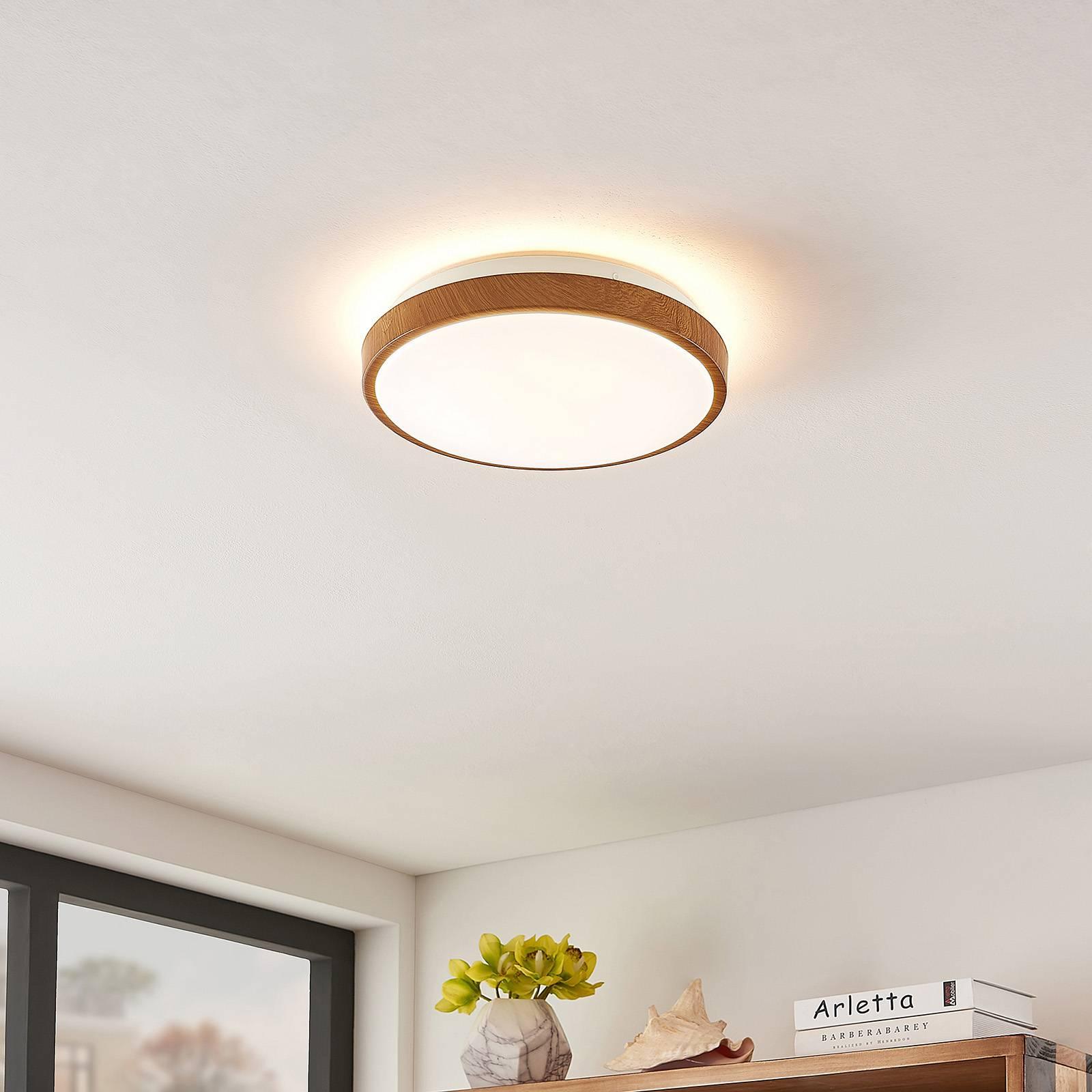 Lindby Mendosa lampa sufitowa LED, drewno, okrągła