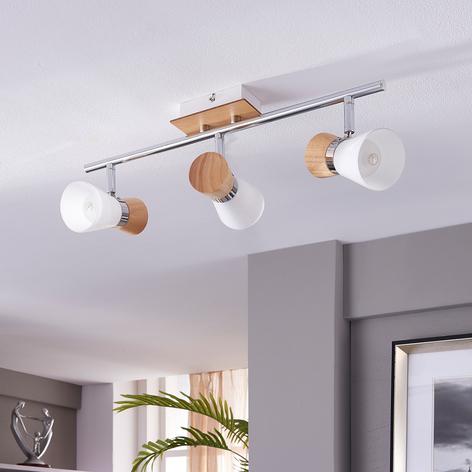 Foco de techo Vivica 3 brazos con piezas de madera