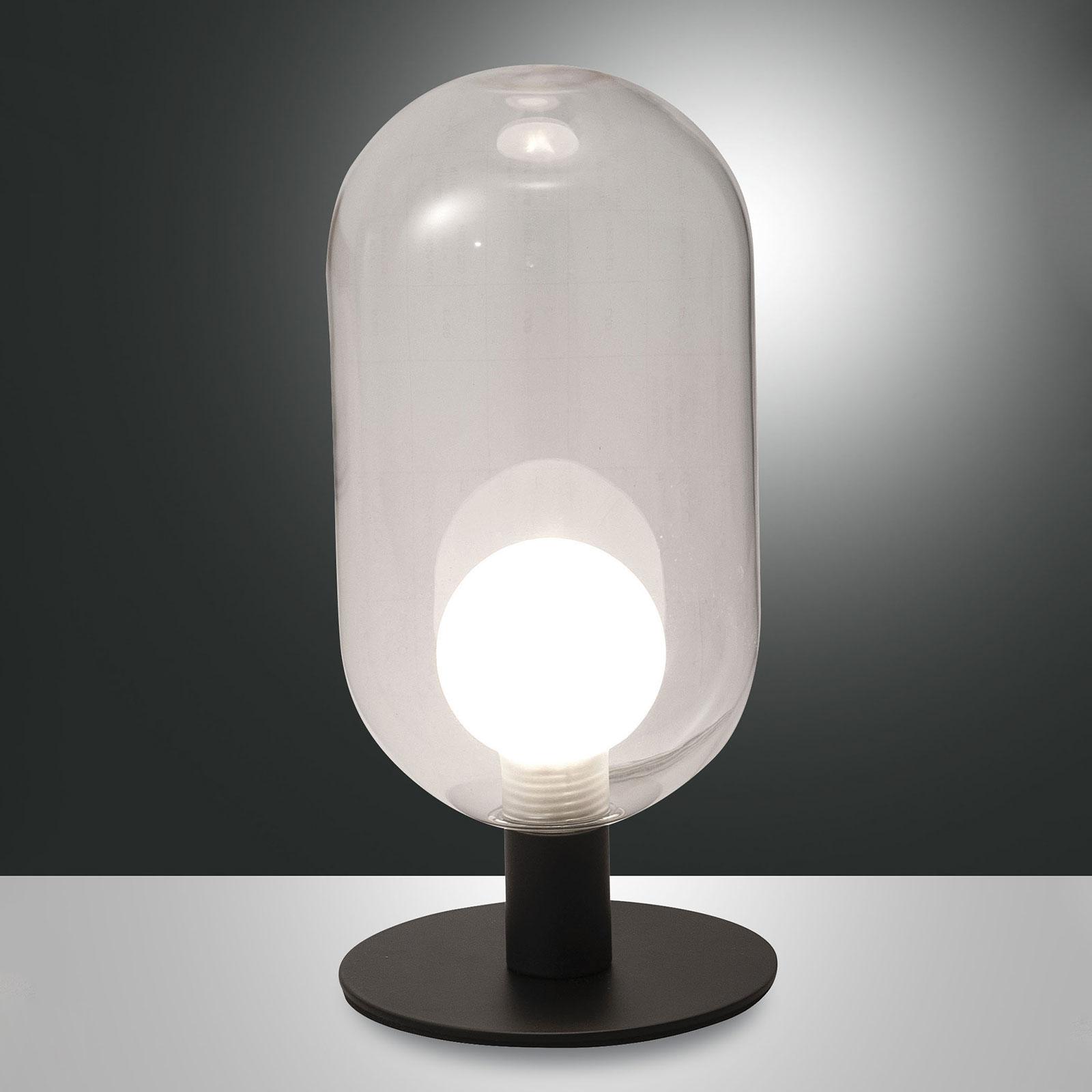 LED tafellamp Gubbio, ovale glazen kap, helder