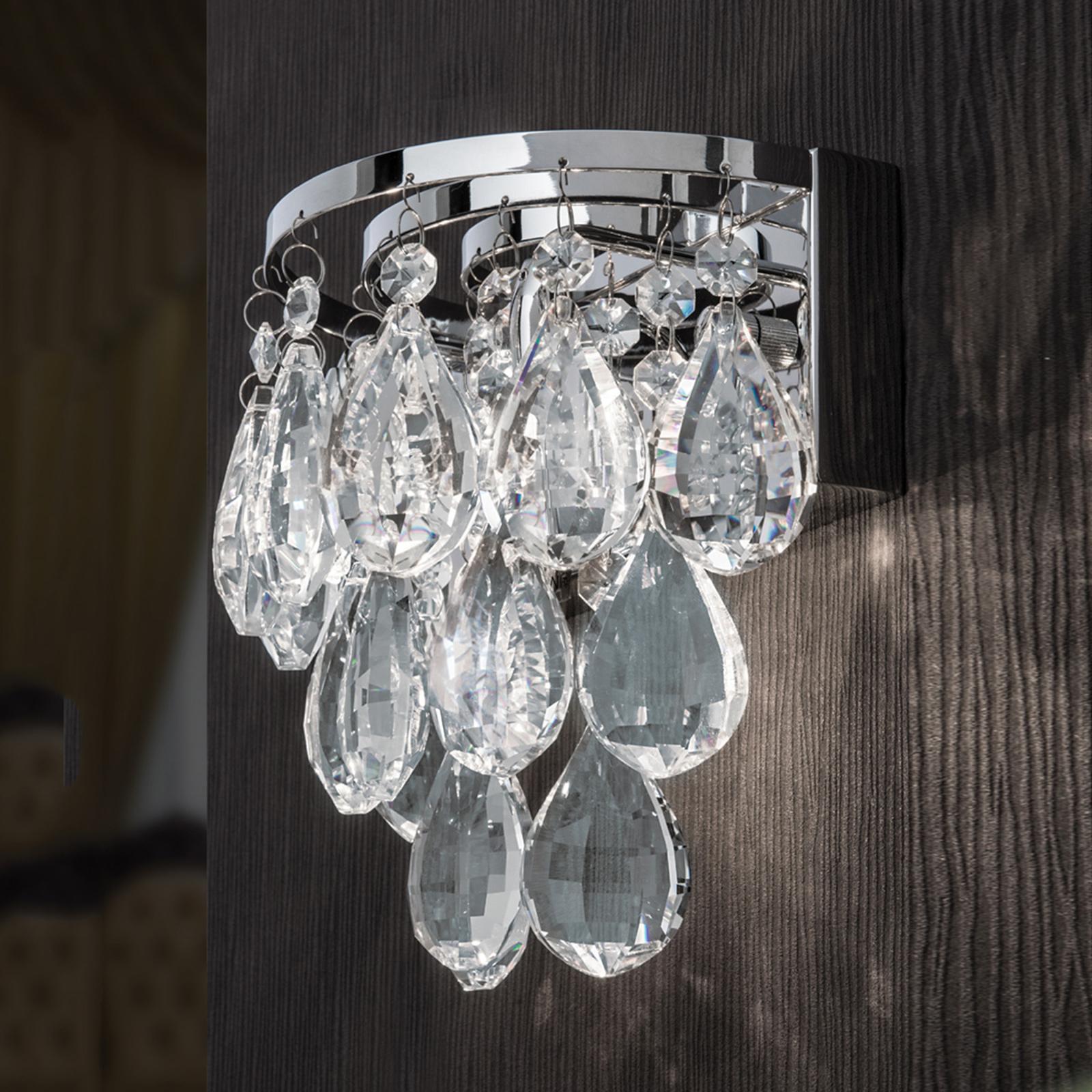 Vacker vägglampa HELENE med blykristaller