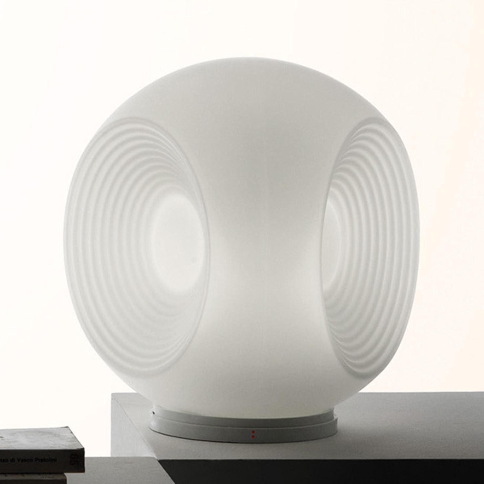 Biała szklana lampa stołowa Eyes