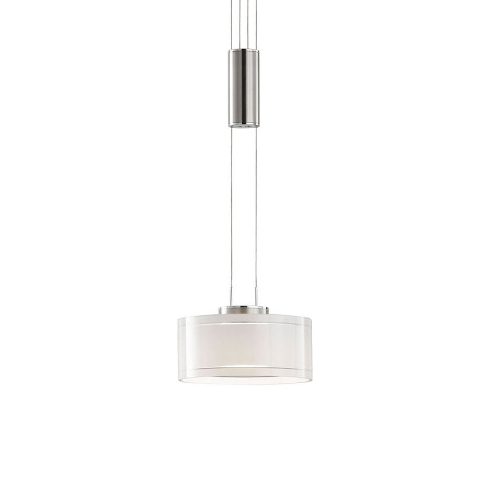 LED hanglamp Lavin 1-lamp nikkel/wit