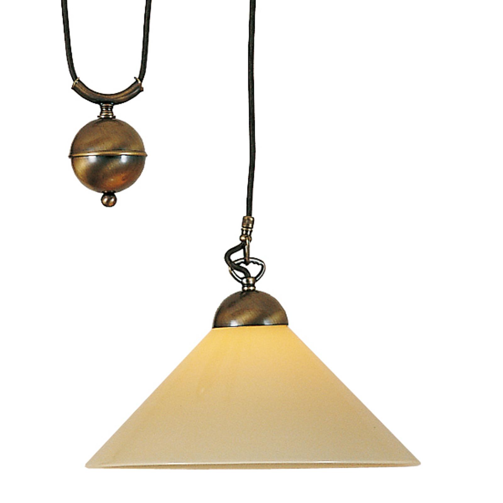 Regulowana lampa wisząca ANNO z opalowym kloszem
