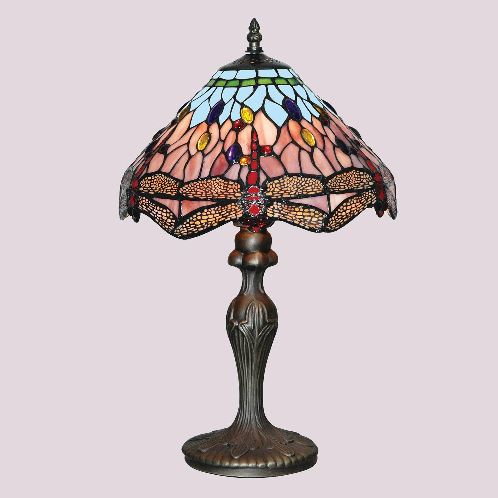 Lumoava Tiffany-tyylinen DRAGONFLY-pöytävalaisin
