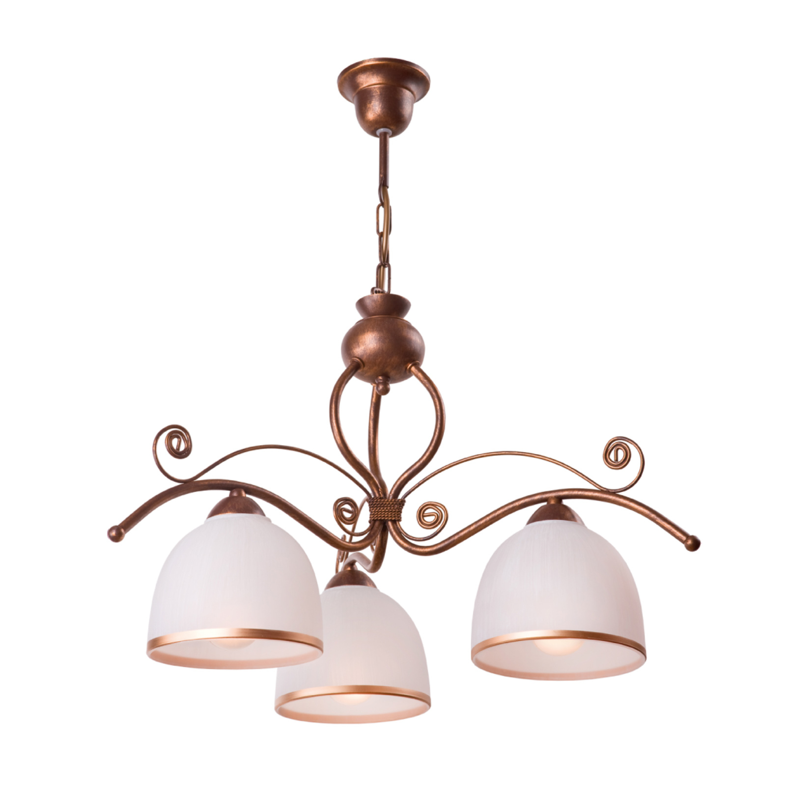 Roma hængelampe i hvid og brun, 3 lyskilder