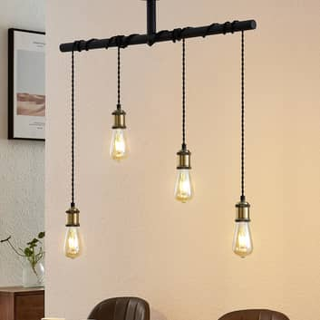 Lindby Kravos hänglampa 4 lampor, svart-mässing