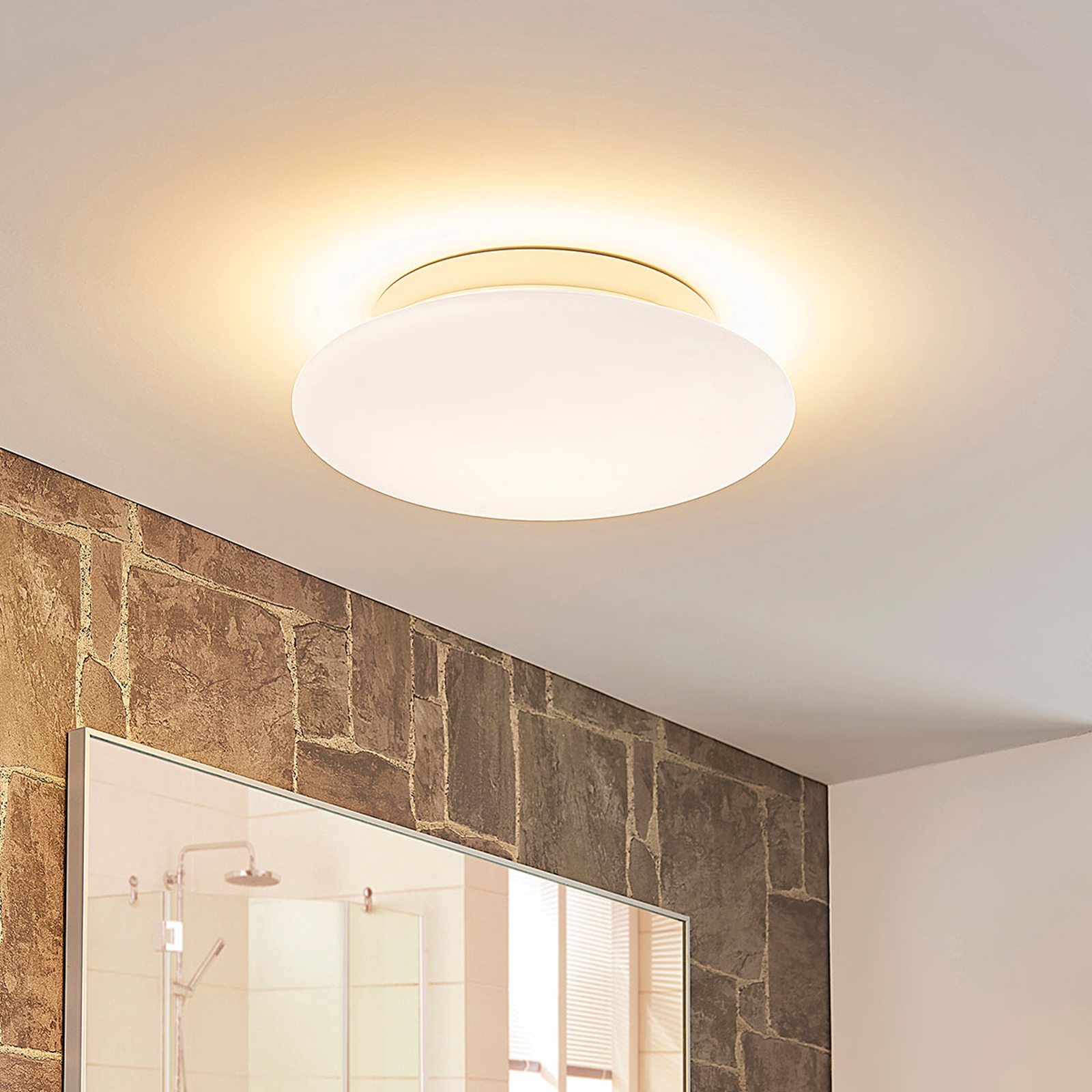 Rund LED-taklampa Tolan i glas, IP44, dimbar