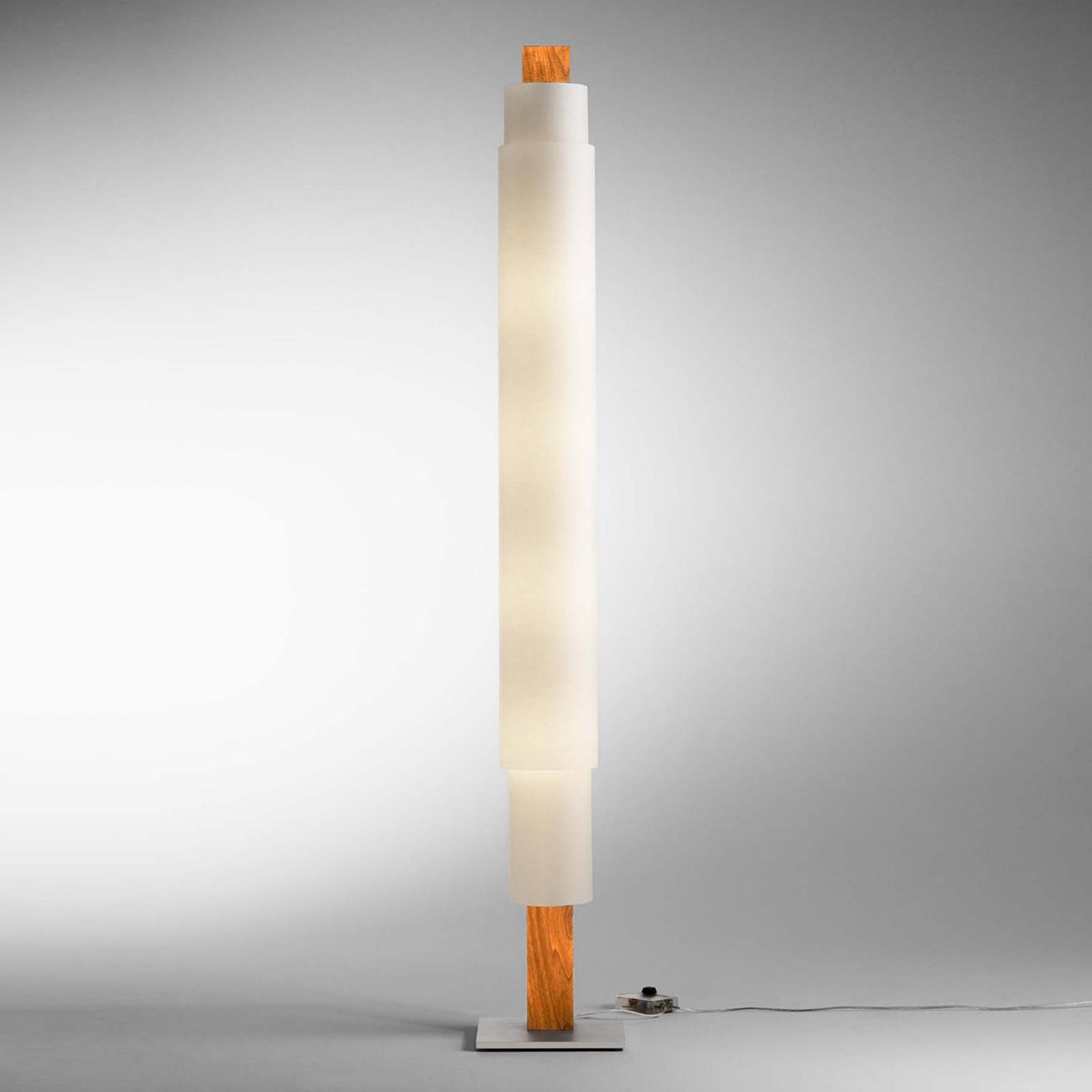 Lampada LED da pavimento Stele in faggio