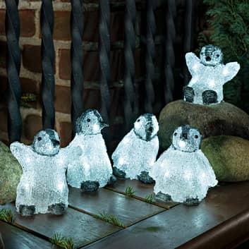 Fünferset LED-Acryl-Leuchtfiguren Babypinguine