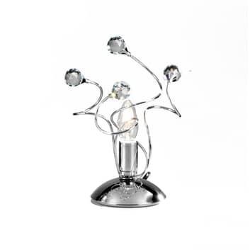 Lampa stołowa Trilly, chrom i kryształy, 27cm