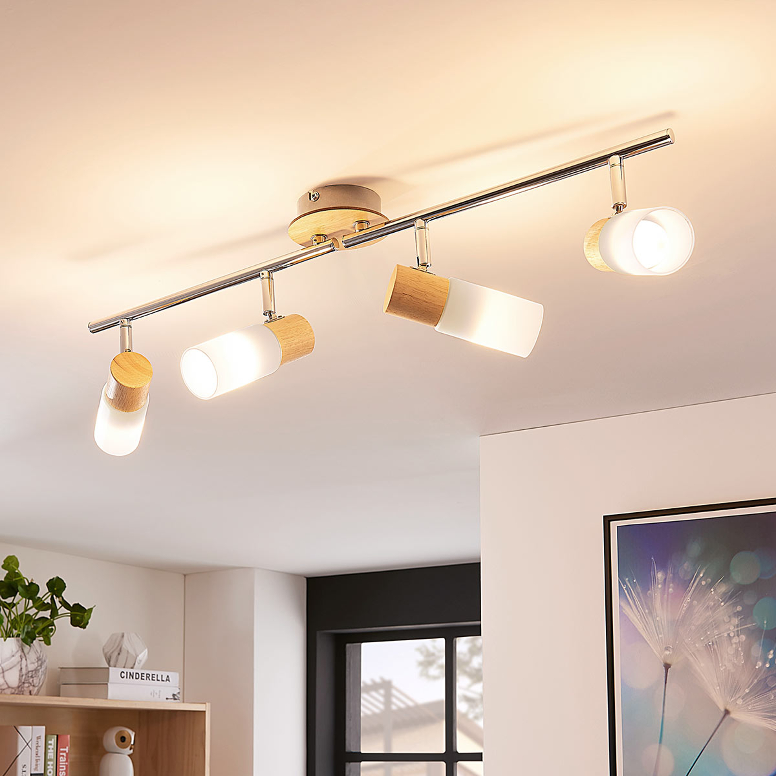 Plafonnier LED Christoph avec bois, 4 lampes